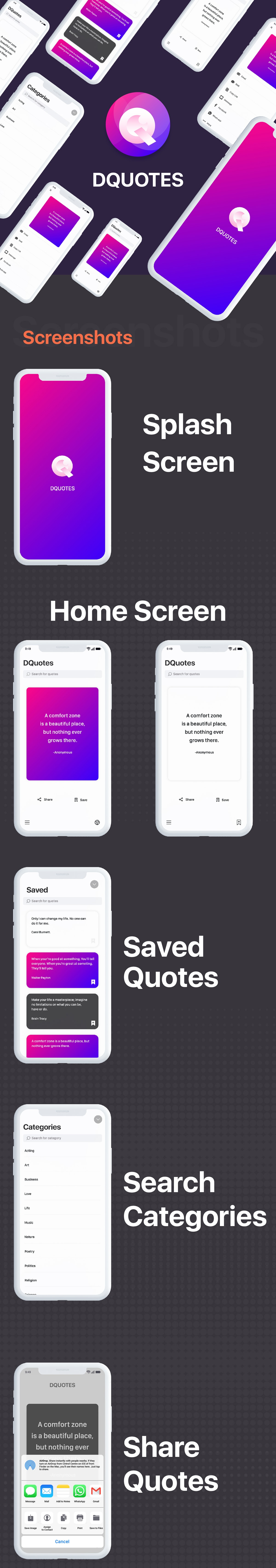 Quotes iOS App with Admin Panel - 2